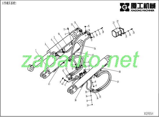 Изображение Шланг цилиндра подъёма стрелы XG935III, XG935H